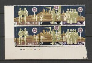 MALTA Corner Blk of 6 1969 Christmas Stamps MNH