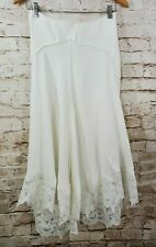 Maje Lace Trim Skirt Ivory White Size 36 US NWT Midi Length