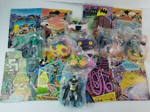 Vintage 1993 McDonald's BATMAN ANIMATED SERIES 8 Toys and 4 Happy Meal Boxes