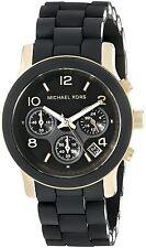 MICHAEL KORS Ladies Watch MK5191 Goldtone Black Band Chronograph Retail $275