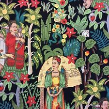 AH160  Frida Kahlo Frida's Garden Mexico Folk Art A Henry Cotton Quilt Fabric
