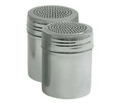 STAINLESS STEEL SALT / PEPPER DREDGES -  SHAKERS - NO HANDLE - SET OF 2
