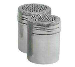 Dredge Shaker Large 10 ounce Stainless Salt And Pepper Set of 2