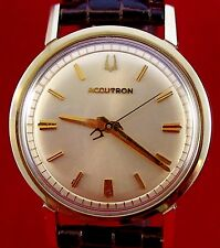 Bulova Accutron 214 in gold plated bezel with new XL lizard grain leather band