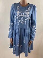 Dorothy Perkins Denim bestickt Smock Kleid UK 12