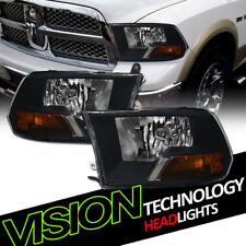 For 09-18 Dodge Ram Truck Dual Black Headlights Parking Signal Lamps Amber NB