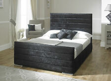 Sarah Velvet Fabric Upholstered Storage Bed Frame 4'6 Double 5 King Size