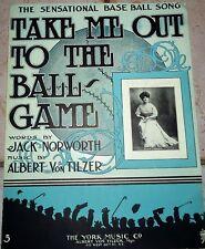 Take Me Out to the Ballgame 1908 Original Baseball SHEET MUSIC Sharp Fisher Cvr!
