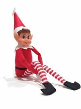 "12"" Elf Sitting On the Shelf Vinyl Face Long Legged Christmas Gift Soft Toy"