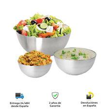 Juego de 3 cuencos de acero inoxidable - Ensaladeras, frutas y verduras