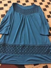 George Teal Womens Tunic Top Size 12 3/4 Sleeves