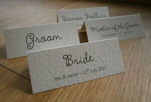 Personalised Wedding Table Place Cards Name Cards - White or Ivory Cards