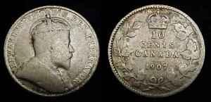 CANADA 1907 Silver Ten Cents G+
