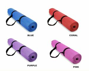 瑜伽垫美国发货4种颜色可选Yoga Mat Pilates Exercise mats with Carry Strap 4mm Thickness