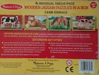 Melissa and Doug Farm Animals Jigsaw 4 x 12 Piece Puzzles in Wooden Box