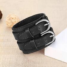 New Black Punk Gothic Genuine Leather Belt Mens Bracelet Wristband Bangle Cuff