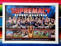 ✺Framed✺ 2013 SYDNEY ROOSTERS NRL Premiers Poster - 45cm x 32cm x 3cm