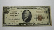 $10 1929 Davenport Iowa IA National Currency Bank Note Bill Charter #15 RARE!