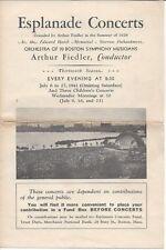 1941 Esplanade Concert Program, Boston Symphony Musicians, Arthur Fiedler