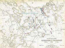 Bataille de Tourcoing & Tournay français Guerres révolutionnaires Johnston Carte 1848 Imprimer