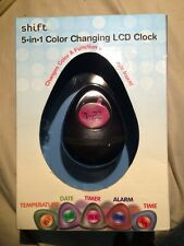 SHIFT3 GREEN 5-IN-1 COLOR CHANGING LCD CLOCK - NEW IN BOX