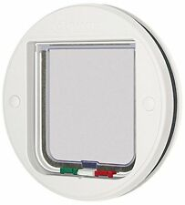 Cat Mate 4-Way Locking Glass Fitting cat Door Flap - White