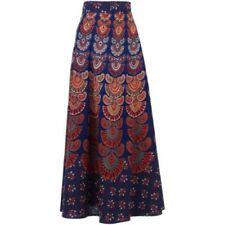 Faldas de mujer larga color principal azul 100% algodón