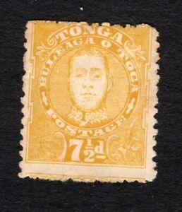 Tonga 1895 mint no gum #38 King George II, 7-1/2p yellow cv $37.50