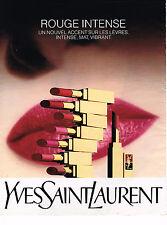 PUBLICITE ADVERTISING 114  1989  YVES SAINT LAURENT   rouge à lèvres INTENSE