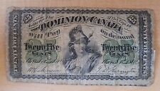 Rare Twenty Five Cent 1870 Dominion of Canada Fractional Bank Currency Note