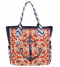 SUN N SAND CANVAS TOTE ZIP TOP BEACH CRUISE VACATION BOAT BAG ANCHOR PAUL BRENT