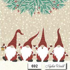 (692) TWO Individual Paper LUNCHEON Decoupage Napkins - GNOMES CHRISTMAS SANTAS