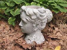 "10"" Girl Woman Head Planter Garden Cement Concrete Antiqued Gray & White Statue"