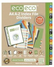 12 Sets x 24pk eco-eco A4 50% Recycled A-Z Wide Index File Folder Dividers