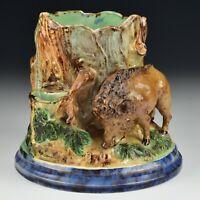 19th Century Majolica Ceramic Figural Wild Boar Cigar and Match Holder