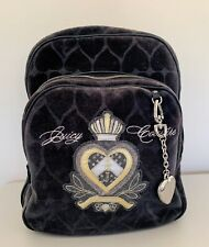 Juicy Couture Black Velour Backpack Velvet Book Bag Zip Heart Embroidered Large