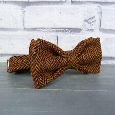 Handmade Wool Tweed Bow Tie - Black/Rust Herringbone