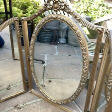 Vintage Baroque Style Gesso Gilt Folding Dressing Table Mirror