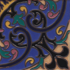 Beautiful Art Deco Hand Painted Repeating Pattern 6x6 Decorative Tiles