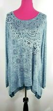 Cato Est 1946 Knit Top Size XL Womens Oversized Blue White Paisley Layered Hem
