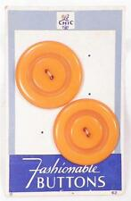 2 Butterscotch Thermoplastic Buttons Fashionable Mid Century MOC NOS