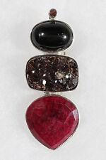 Designer Sterling Silver Druzy, Ruby,and  Enstar Sapphire Pendant