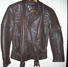 Padded Hein Gericke Vintage Brown Leather Motocycle Jacket 34 Harley Davidson Sm