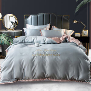 4 Pieces of Washed Silk Bedding Cover Breathable Duvet Cover Luxury 2021 Home