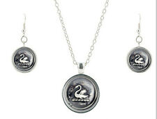 Once Upon A Time Glass Domed Pendant Necklace and Earring Set