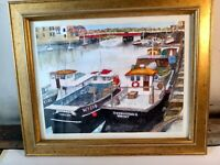 original watercolour painting of Whitby harbour,framed and signed by the artist