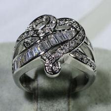 New Women 925 Silver White Sapphire Birthstone Heart Ring Wedding Jewelry Size 7