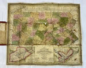 Mitchell's 1841 Tourist's Pocket Folding Map of Pennsylvania w/ Leather Booklet