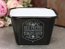 Chic Antique DINAMARCA Esmalte Cuenco Tomato sopa fuente Sopa Cáscara Negro