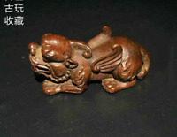 Old Pure Solid Red Copper Brave troops Chinese Auspicious beast Statue Pi xiu